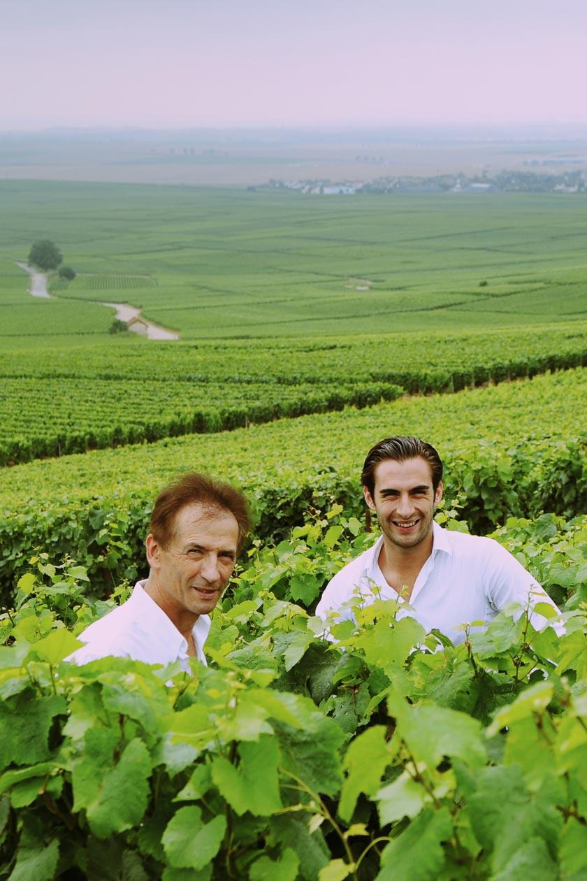 Photographie de vignerons dans leurs vignes en Champagne