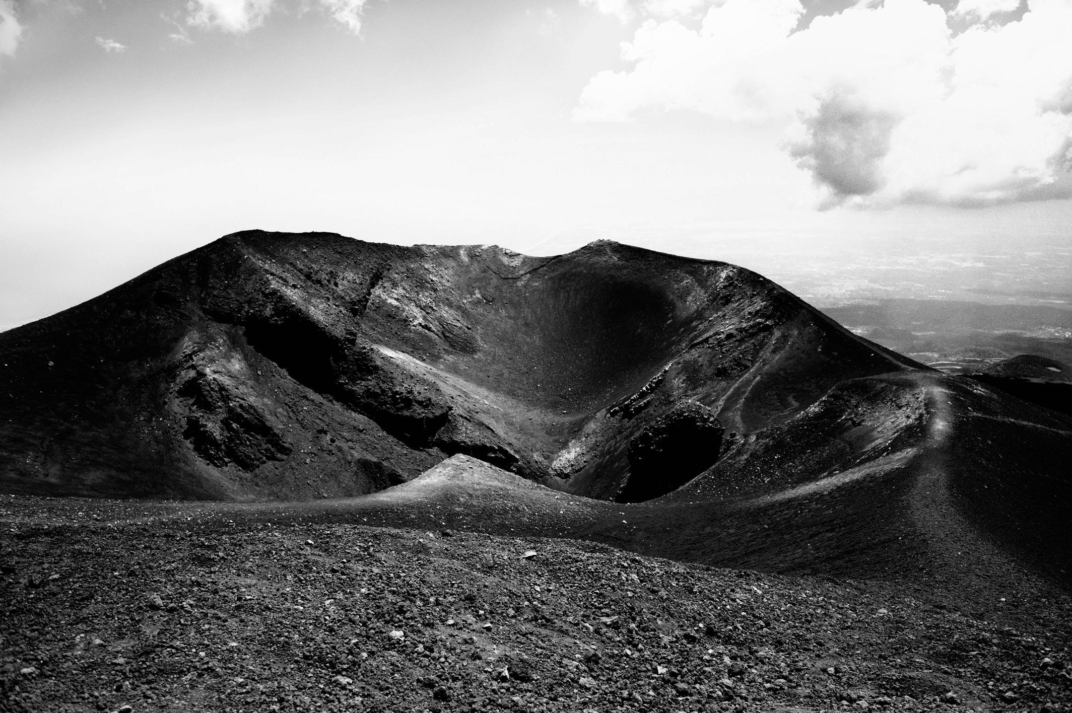 l'Etna en noir et blanc