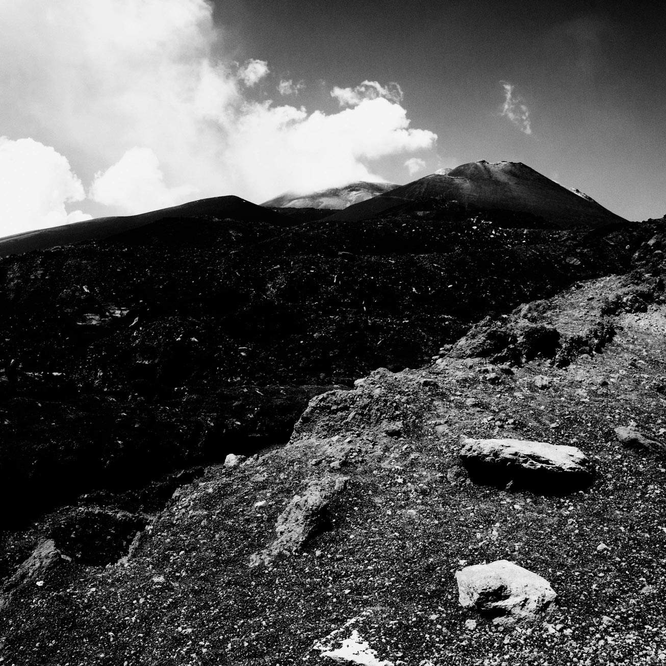 Photo fine art de l'Etna en noir et blanc